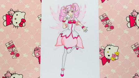 手绘小花仙进化前的桃花精灵王红雨 超级可爱