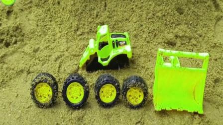 帮推土机装上轮胎和铲斗