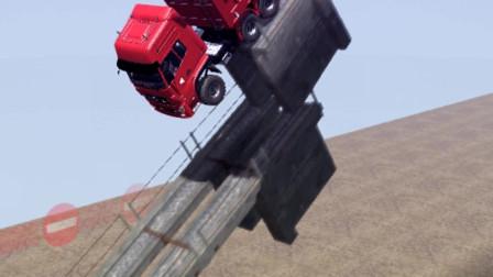 大货车拉一车西瓜冲下高桥,太惊险了