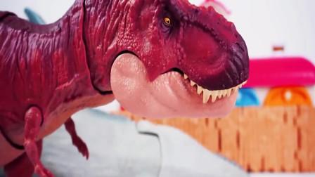 霸王龙赶跑沧龙鲨鱼吃肉