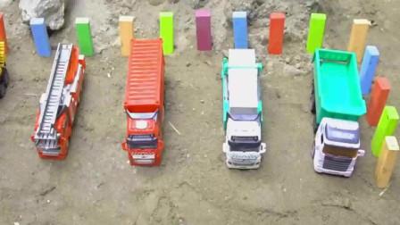 彩色砖给工程车建造车库