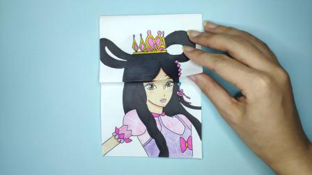 见过罗丽现代和古装发型长相吗?一张纸手绘精灵梦叶罗丽对比区别