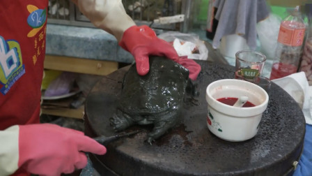 夜市大妈制作炖甲鱼,处理全程太秀了,看完真涨知识