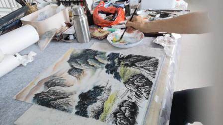 国画荷叶皴技法山水画示范