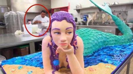 顶级厨师耗费12小时,做出堪比真人的美人鱼蛋糕,隔壁小孩馋哭