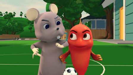 跳跳鱼和老鼠足球比赛4比4扳平到赛点