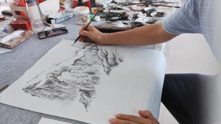 山水画坡脚台墩画法示范