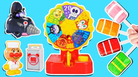 佩奇和乔治做美味寿司糖!蜜瓜超人玩幸运大转盘赢得细菌小子玩具!