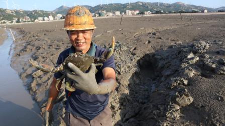 泰叔滩涂找蟹洞,越挖越深越挖越大,看到猛货激动的直接徒手抓