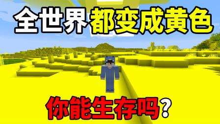 我的世界:假如世界都变成了黄色你能生存吗?我的世界趣味生存!
