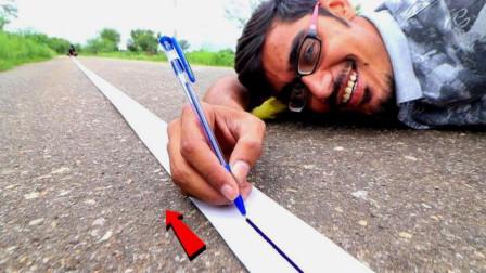 一支圆珠笔能画多长的直线?男子硬核实测,这辈子估计不想再拿笔了