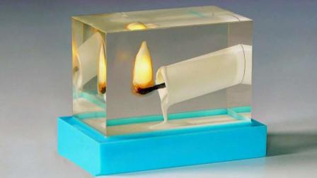 一个LED灯加环氧树脂,男子折腾半天,成功定格蜡烛燃烧的瞬间