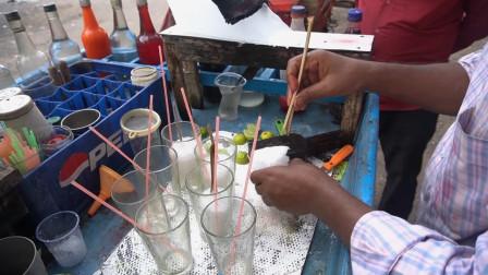 印度小学生最爱的冰棒,冰块磨成沙冰后淋上色素,每天卖到断货!