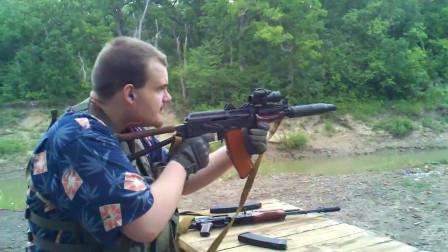 AK突击步枪装配消音器,射击效果几乎没什么区别