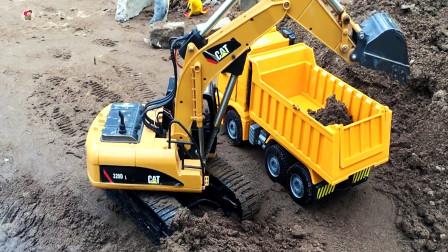 遥控工程车铺路,挖掘机自卸车翻斗车拖车