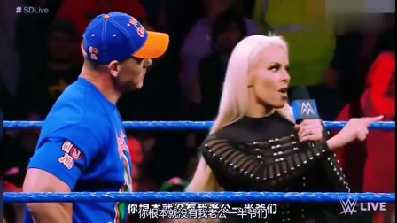WWE精彩回顾:米兹的老婆给了塞纳一巴掌,不料妮琪直接登场了!