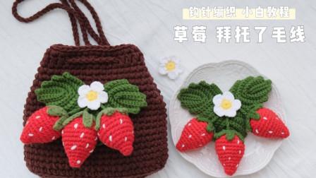 拜托了毛线37大颗粒草莓果实 钩针零基础教程 草莓挂件 编织水果装饰