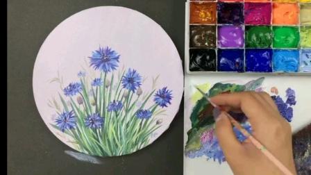 《丙烯画花卉初级》6.秋 • 蓝色矢车菊