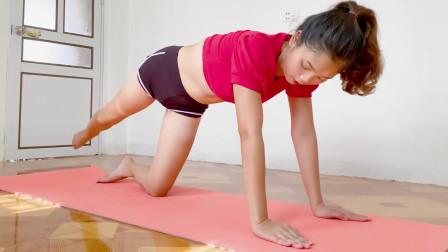 瑜伽体式训练,支撑式腿部伸展拉伸,轻松瘦大腿脂肪