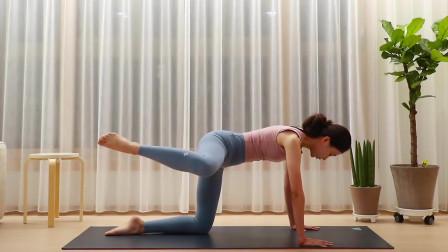 瑜伽体式训练,支撑式腿部开胯拉伸,消除腿部多余脂肪