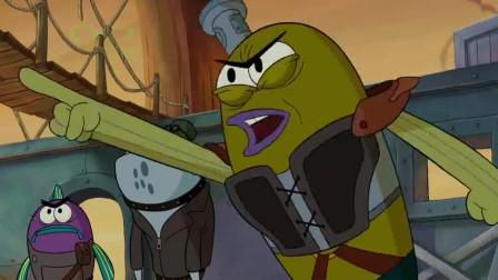海绵宝宝大电影章鱼哥变成了一只暴龙,样子搞笑