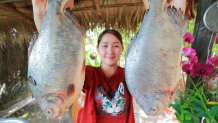 柬埔寨农村巧妇,拿来新鲜的海鱼、藕带、菠萝,看看是什么吃法