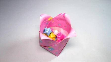 手工折纸郁金香收纳盒,简单漂亮超喜欢