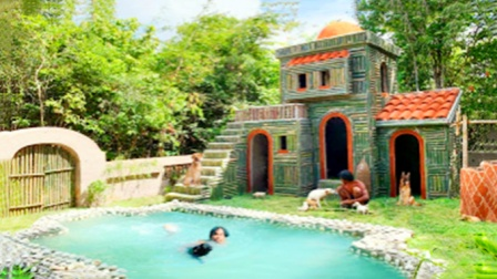 小哥一顿操作猛如虎,徒手打造豪华泳池庭院,惊艳了众人!