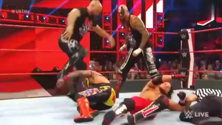 WWE:恶少AJ和OC围攻雷尔,兰迪仗义出手RKO,助神秘人登顶全美冠军