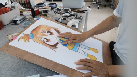 少儿卡通小女孩作画示范