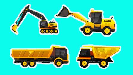 挖掘机卡车压路车施工 用沙石铺路