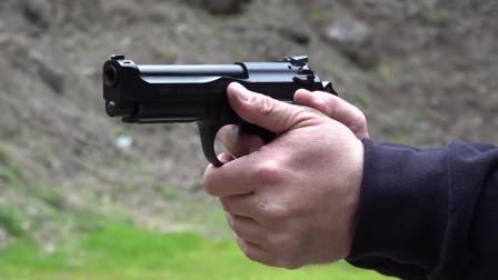 漂亮的伯莱塔M9A3手枪,后坐力挺大,一定要双手紧握