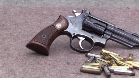 漂亮的左轮手枪,转鼓式弹仓供弹六发,靶场射击评测