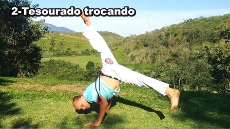 巴西战舞Capoeira 单人Flow健身动作套路(Macaco - Aú costurado - Meia-lua Dupla - Tesourado)