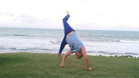 巴西战舞Capoeira 单人Flow健身动作套路(Hélice com tesourado - Passagem por trás)