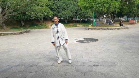 杨乃景於2020年10月9日在龙港公园晨练48式太极拳。