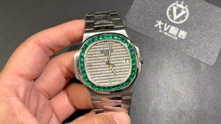 大v腕表 百达斐丽鹦鹉螺改装镶真钻满天星绿色宝石圈口腕表!