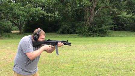10mm口径的MP5冲锋枪,户外靶场射击评测!