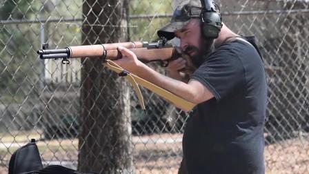M1伽兰德半自动步枪射击测试,可以自动抛弹夹 深受老外欢迎
