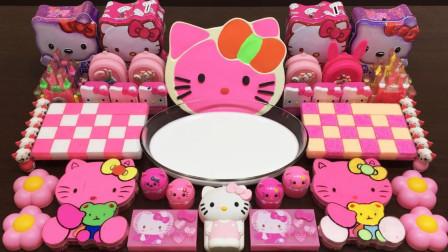 粉色H将化妆品和闪光粉混合到中!令人满意的黏液视频