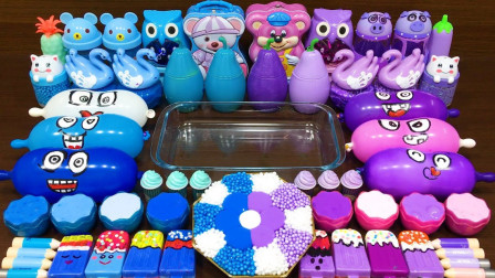 蓝色对紫色!用有趣的气球做黏液!把随机的东西混合成黏液
