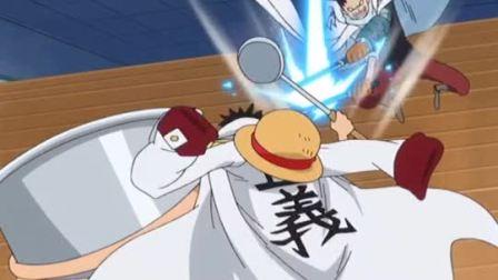 海贼王:路飞实力受质疑,一个勺子就把海军搞定,卡普看到应该很开心!