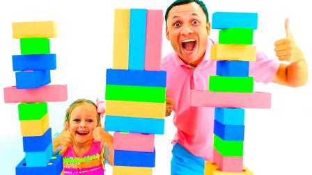 萌宝亲子故事:咋回事?小萝莉搭建好的积木方块为何总倒下?
