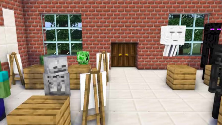 Minecraft动画:奇怪的僵尸家庭