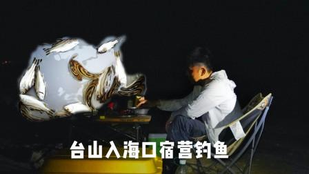 台山入海口宿营钓鱼,收获一堆花身鸡,做成鱼汤面美滋滋