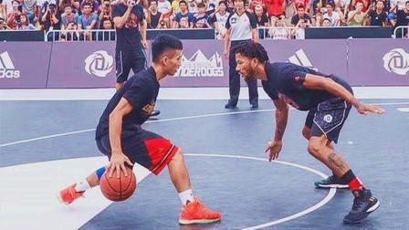 中国街球大神军哥单挑罗斯,现场堪比神仙打架,球迷:能打NBA了