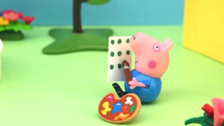 小猪佩奇和乔治一起在院子里玩好玩有趣的滑滑梯和泳池玩具