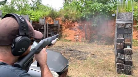 雷明顿TAC 14霰弹枪,加装黑色霰弹,户外靶场射击实测