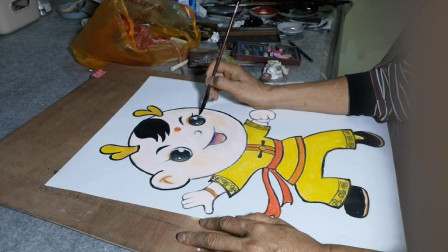 卡通画可爱儿童作画过程