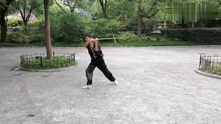杨老师公园晨练传统武术棍法!